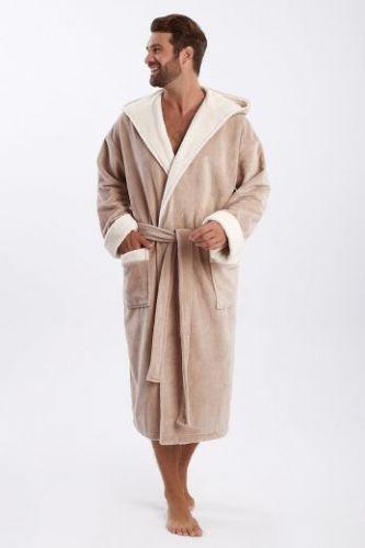 Мужской махровый халат с капюшоном Zeus бежевый