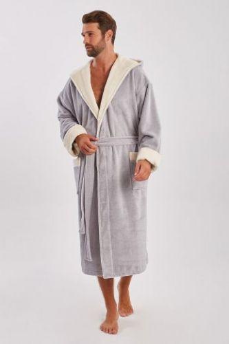 Мужской махровый халат с капюшоном Zeus серый
