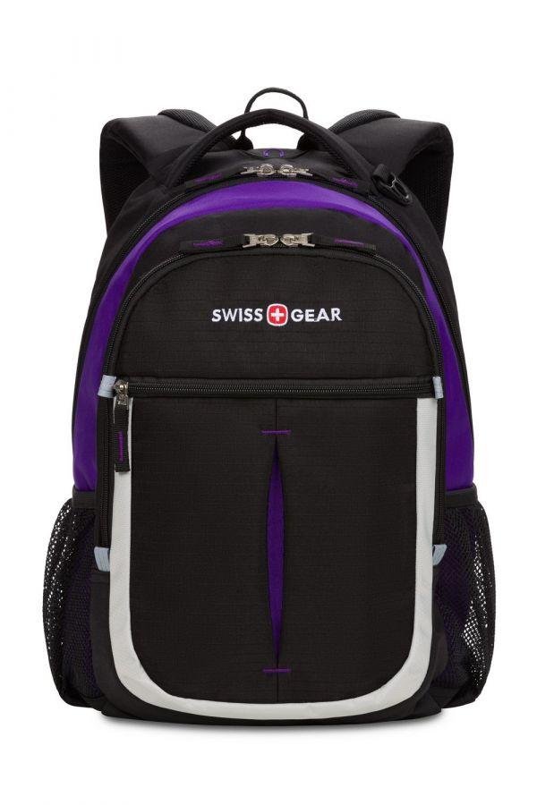 Рюкзак Swissgear, черный/фиолетовый/серебристый, 32х15х45 см, 22 л, (SA13852915)