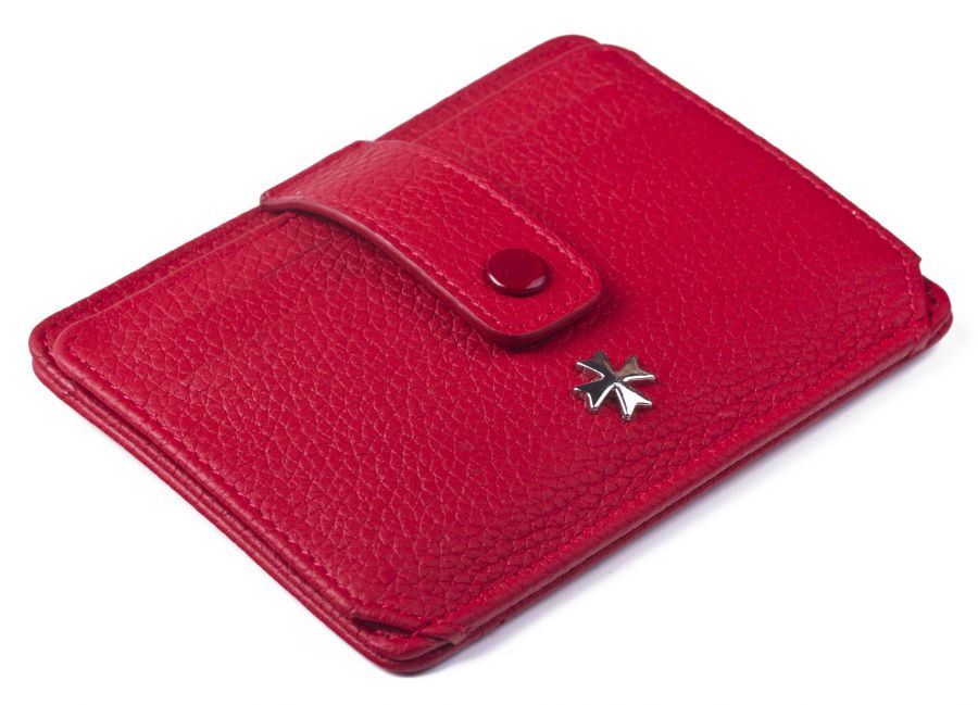 Кожаная визитница Narvin 9105-N.Polo Red