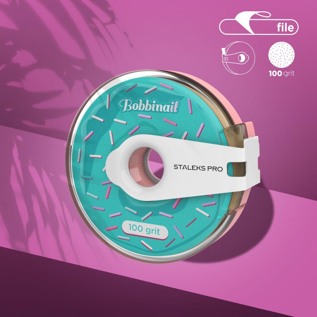 Сменный файл-лента в пластиковой катушке Bobbinail STALEKS PRO 100 грит (8м)
