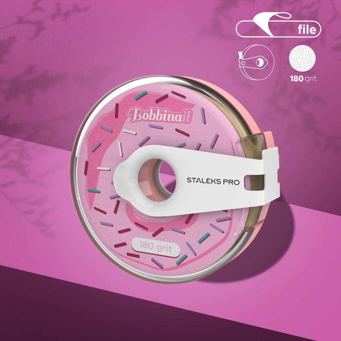 Сменный файл-лента в пластиковой катушке Bobbinail STALEKS PRO 180 грит (8м)