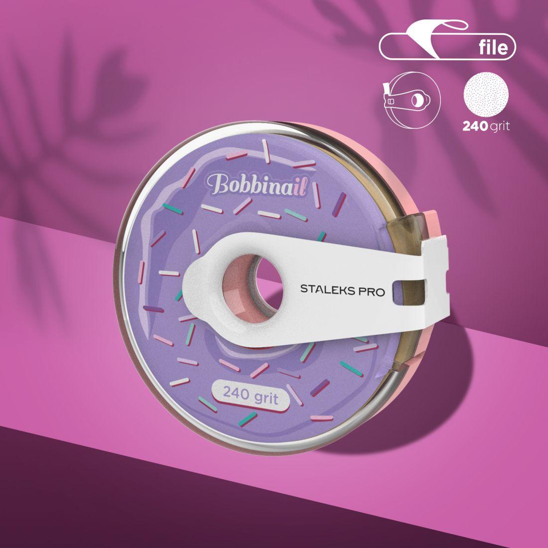 Сменный файл-лента в пластиковой катушке Bobbinail STALEKS PRO 240 грит (8м)
