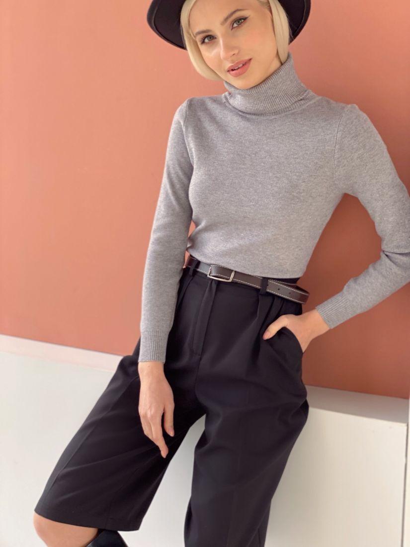 4636 Тонкий свитер серый