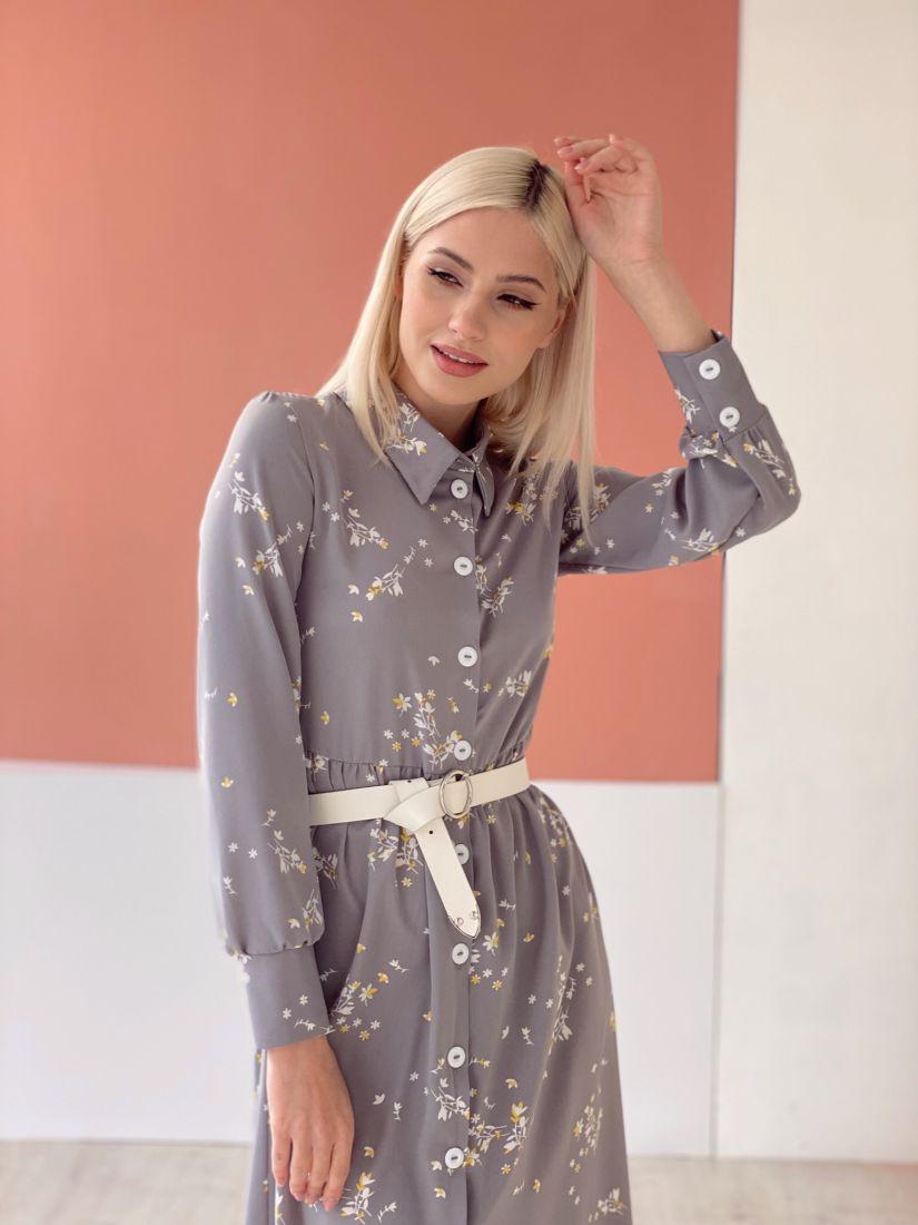 4650 Платье-рубашка серое с веточками