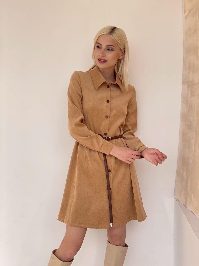 4656 Вельветовое платье цвета мягкой карамели