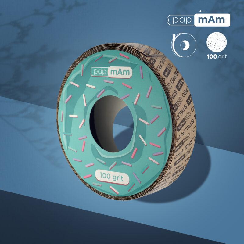 Запасной блок файл-ленты papmAm для пластиковой катушки Bobbinail STALEKS PRO 100 грит (6м)