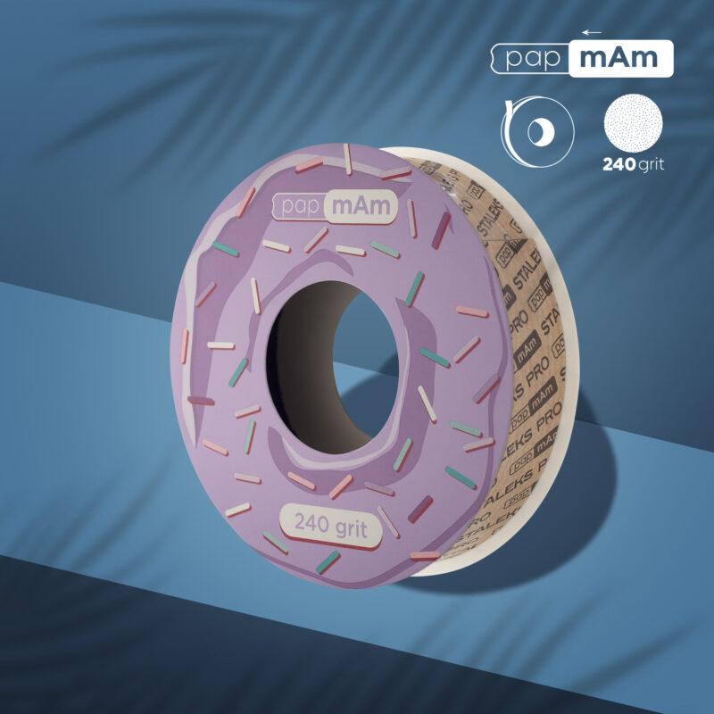 Запасной блок файл-ленты papmAm для пластиковой катушки Bobbinail STALEKS PRO 240 грит (6м)