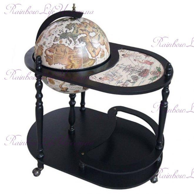 """Глобус бар со столиком 42004W-B """"Карта мира"""" черный сфера 42 см"""