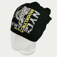 зм1217-65 Шапка вязаная конвертик Tiger черная
