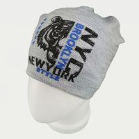 зм1217-80 Шапка вязаная конвертик Tiger серый меланж