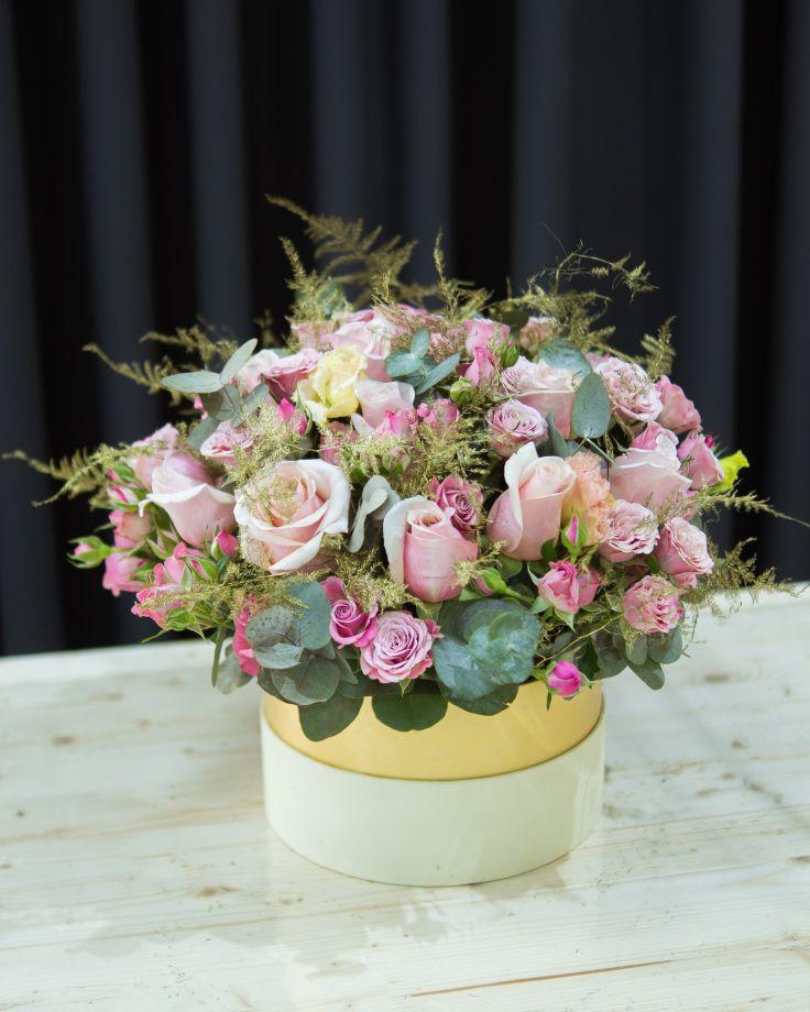 """Коробка цветов """"Розовое золото"""""""