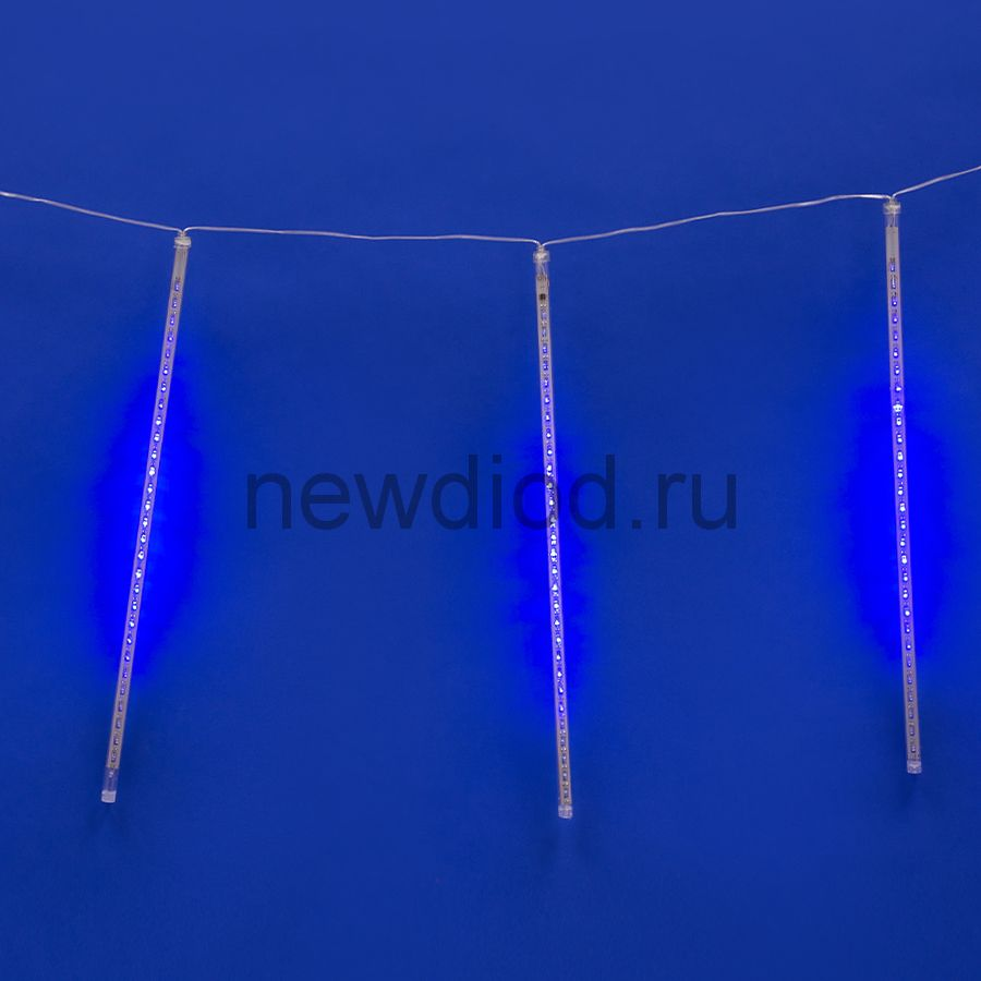 Занавес сд падающие звезды ULD-E2403-144-DTK BLUE IP44 METEOR соед 2х0.3м 8подв синий провод прозр