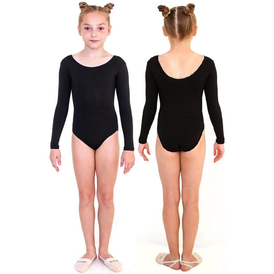 Купальник гимнастический длинный рукав INDIGO SM-094 черный