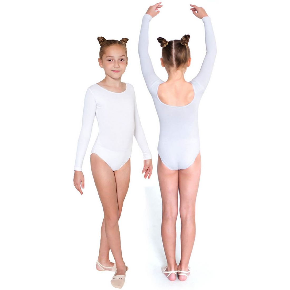 Купальник гимнастический длинный рукав INDIGO SM-093 белый