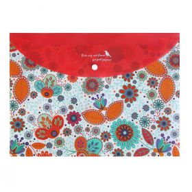 Папка-конверт на кнопке Tukzar Цветы А4, 250х350мм, ПВХ