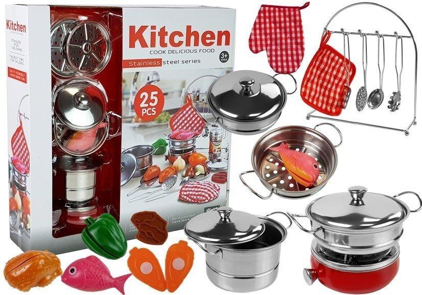 Набор посуды, кастрюль и небольших поваров, нержавеющая сталь. 6584
