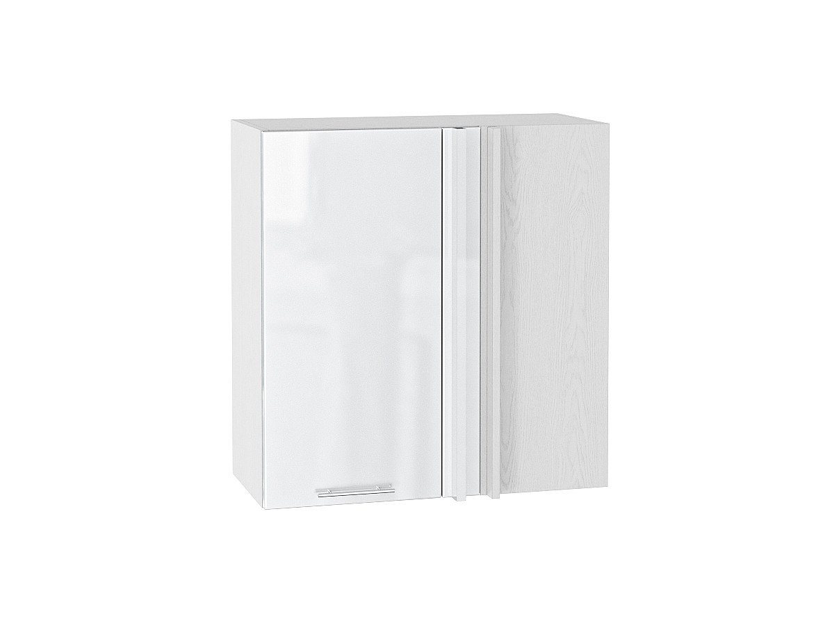 Шкаф верхний угловой Валерия ВУ690 белый глянец