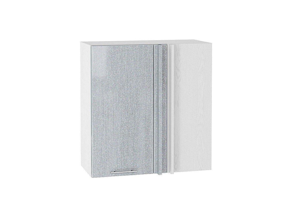 Шкаф верхний угловой Валерия ВУ690 серый металлик дождь