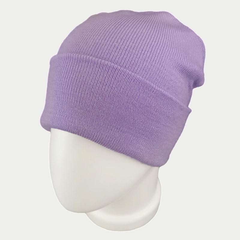 зд1243-37 Шапка вязаная двойная Pure нежно-фиолетовая