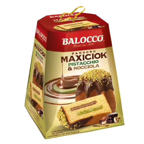 Пандоро Фисташка и фундук 800 г, Pandoro MaxiCiok Pistacchio e nocciola Balocco 800 g