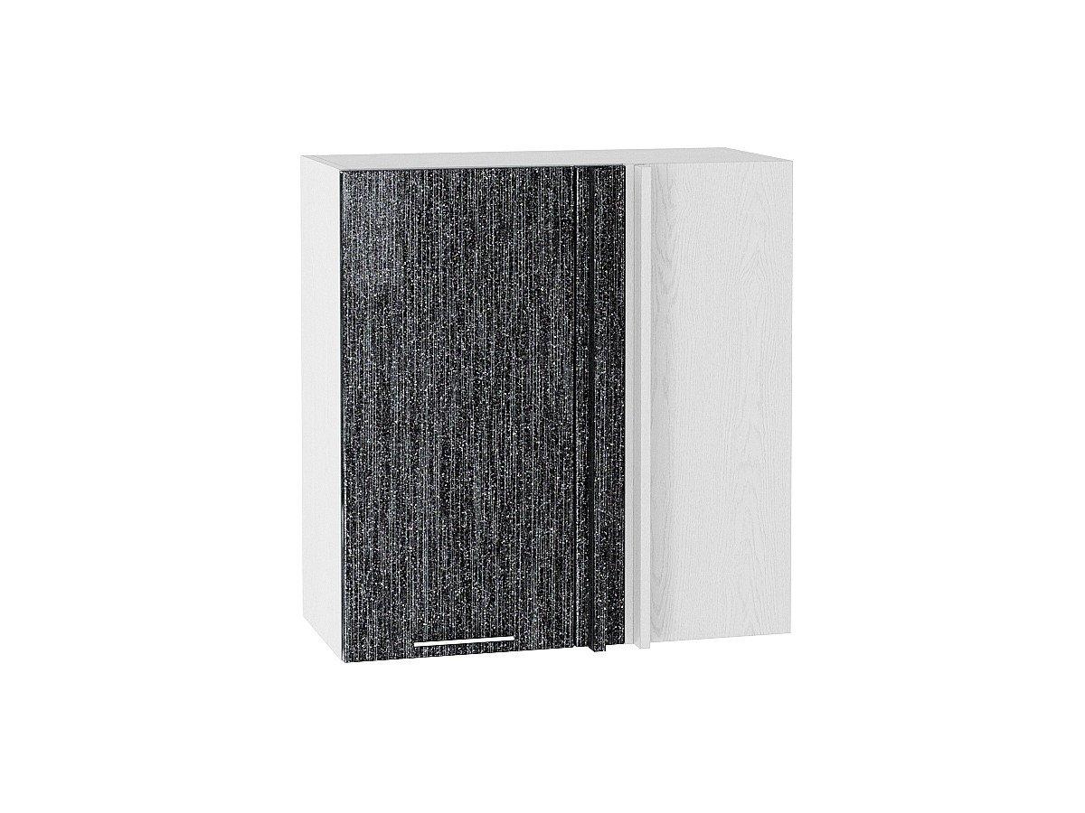 Шкаф верхний угловой Валерия ВУ690 чёрный металлик дождь
