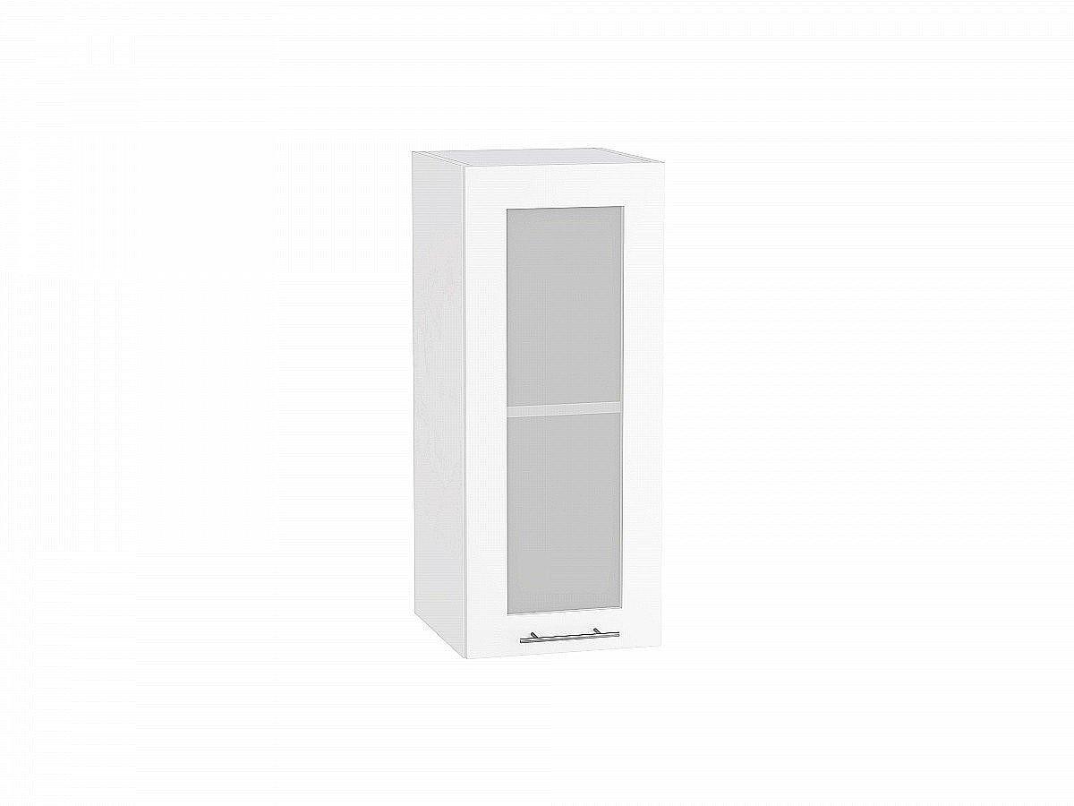 Шкаф верхний Валерия В300 со стеклом белый глянец