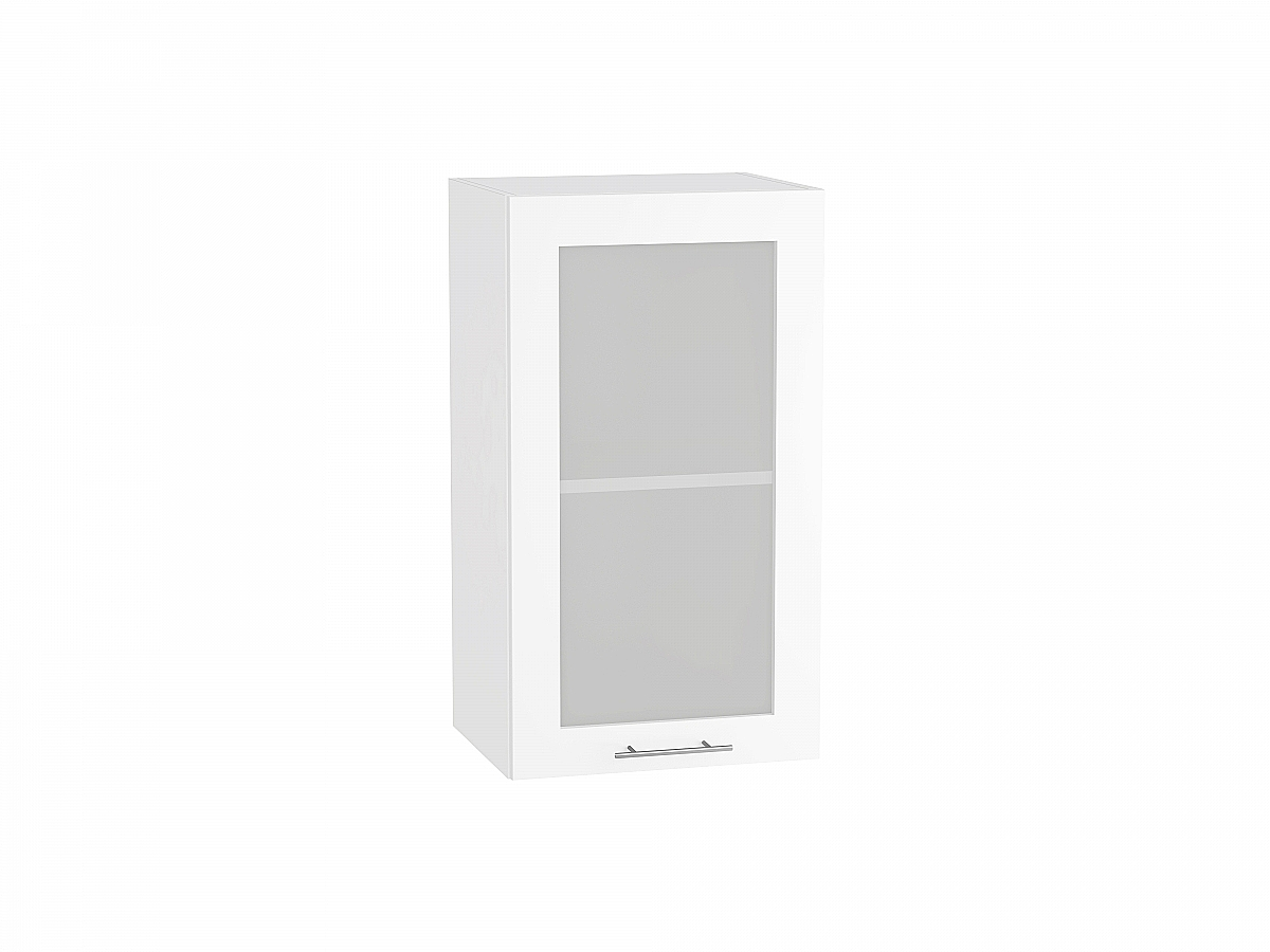 Шкаф верхний Валерия В400 со стеклом белый глянец