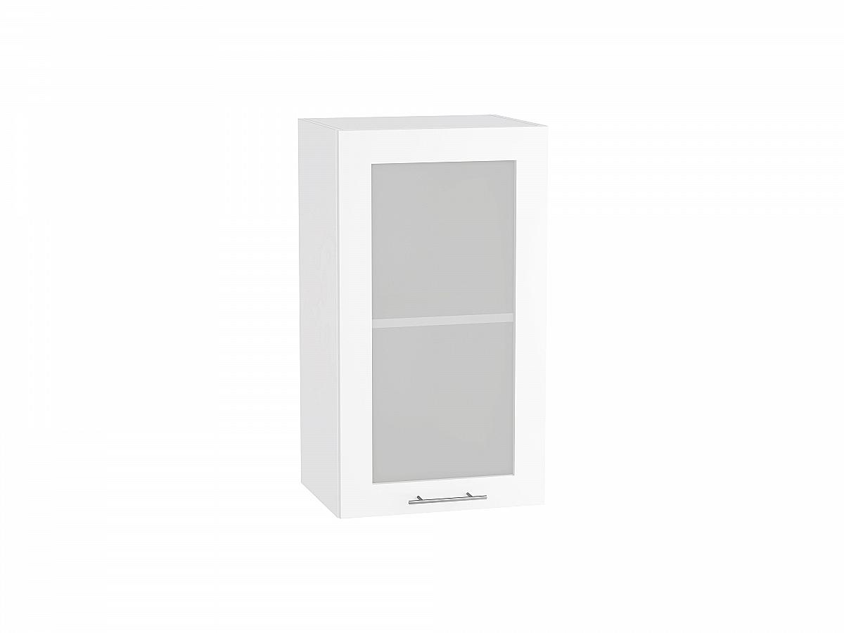 Шкаф верхний Валерия В409 со стеклом белый глянец