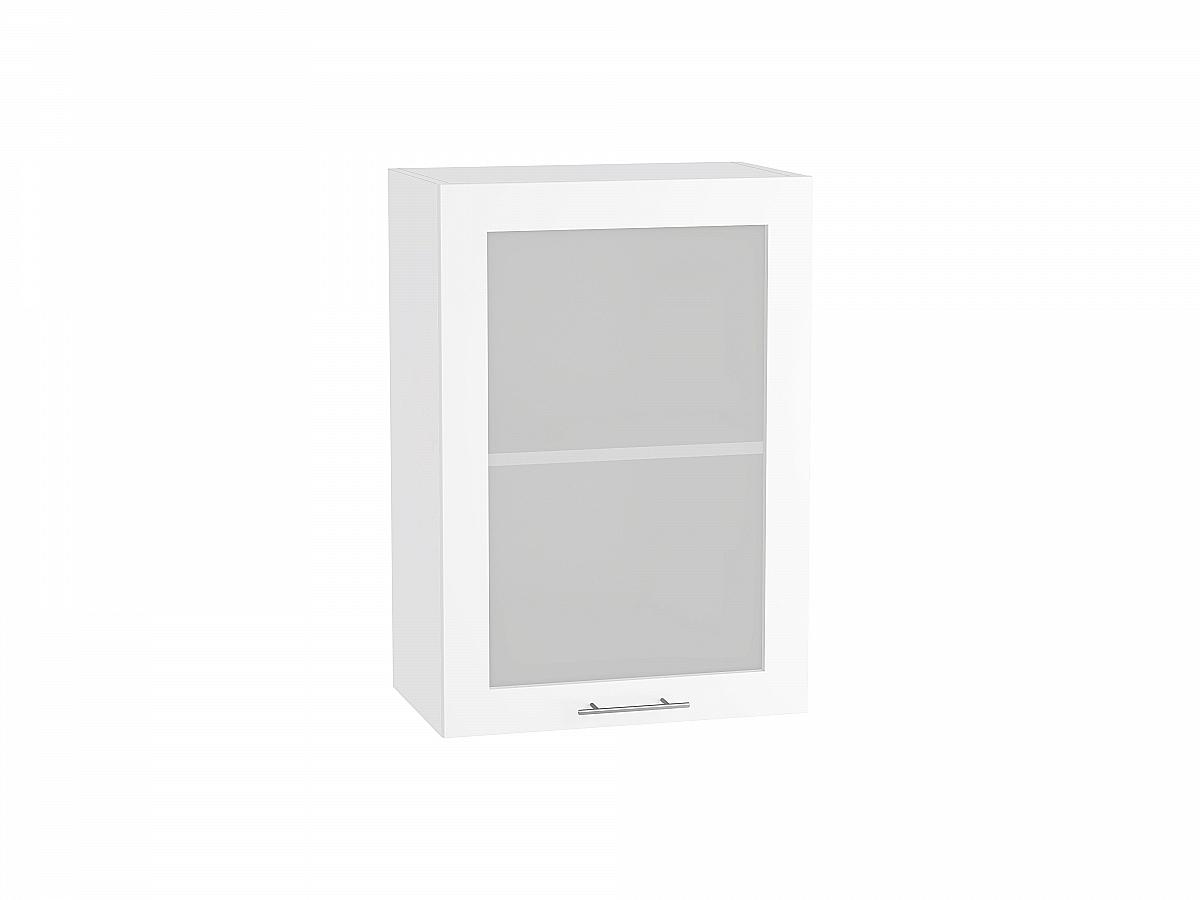 Шкаф верхний Валерия В500 со стеклом белый глянец