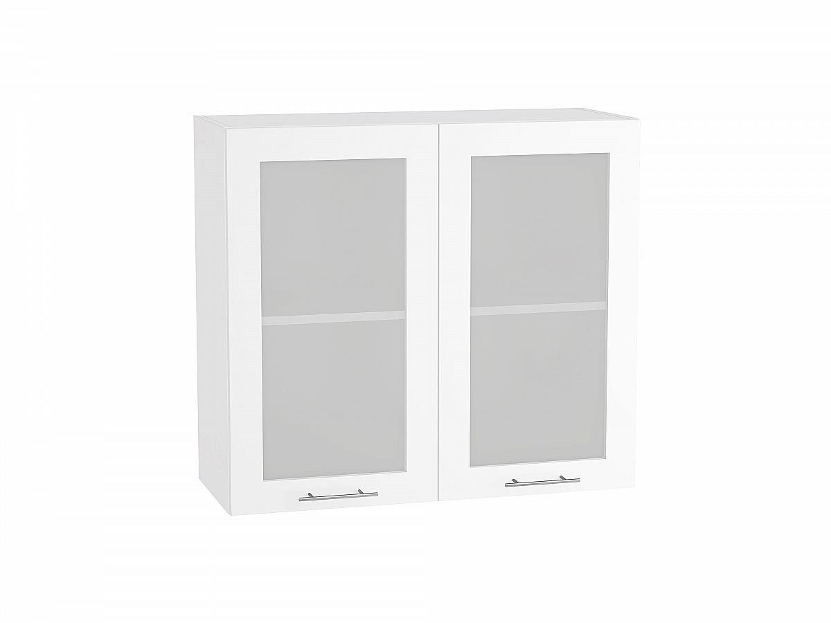 Шкаф верхний Валерия В800 со стеклом белый глянец