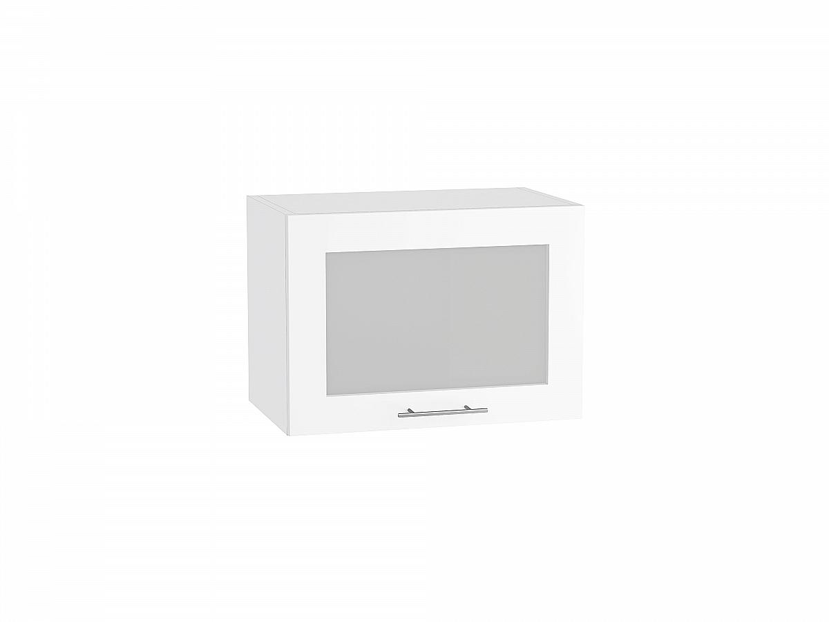 Шкаф верхний Валерия ВГ510 со стеклом белый глянец