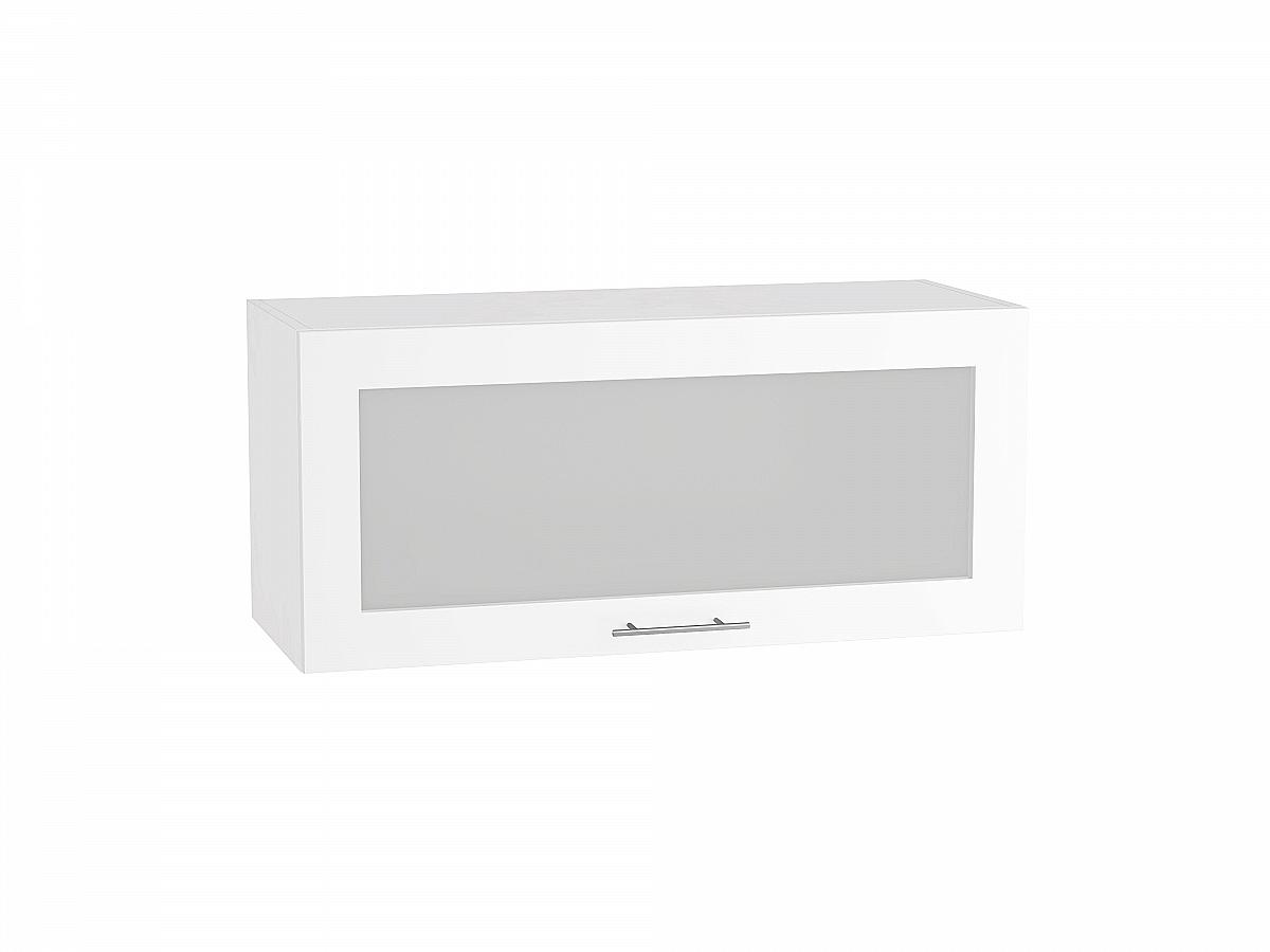 Шкаф верхний Валерия ВГ810 со стеклом белый глянец