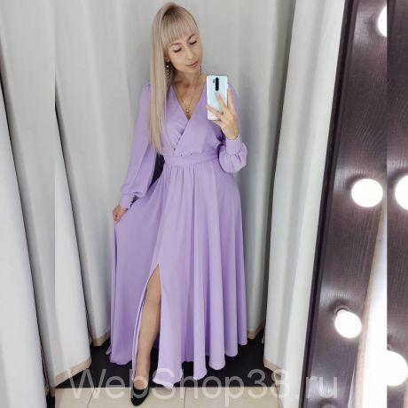 Сиреневое вечернее платье в пол с разрезом и рукавами