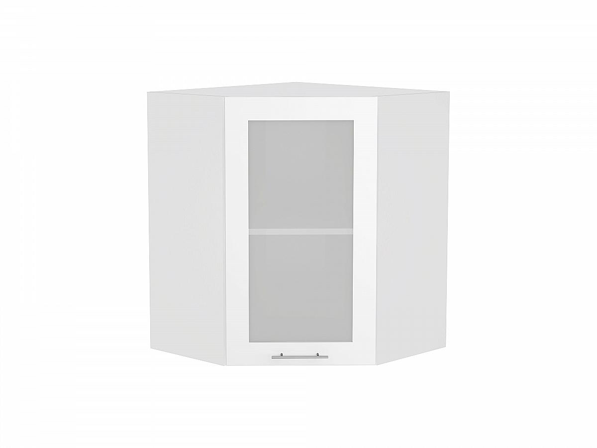 Шкаф верхний угловой Валерия ВУ590 со стеклом белый глянец