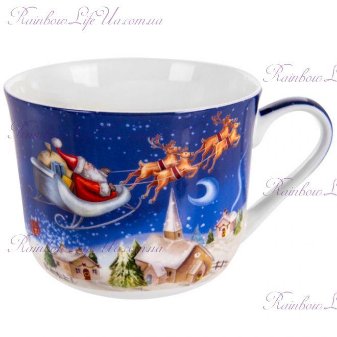 """Чашка новогодняя 470 мл Санта на оленях """"Lefard"""""""