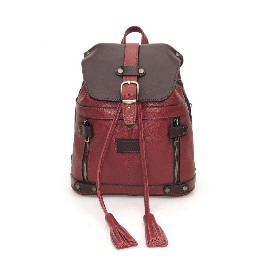 Бордовая кожаная сумка рюкзак «Бэсси»