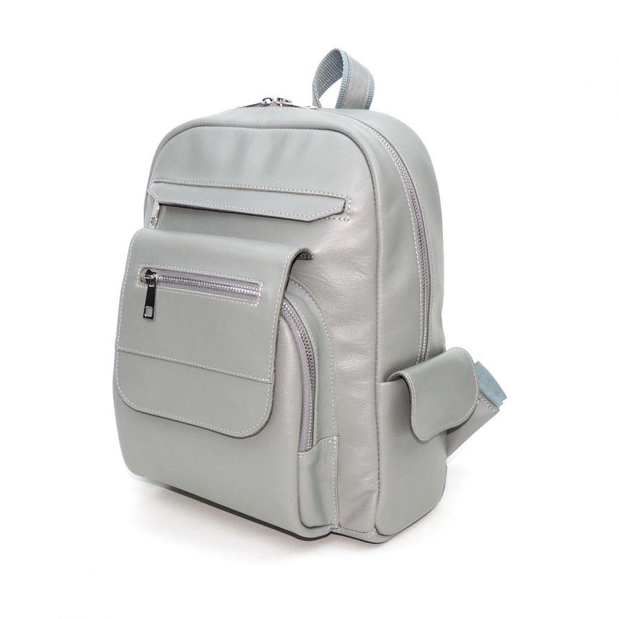 Серый кожаный рюкзак «Карэн»