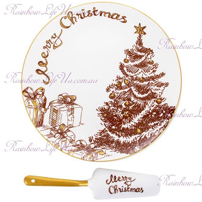 """Блюдо для торта с лопаткой 26 см Merry Christmas """"Lefard"""""""