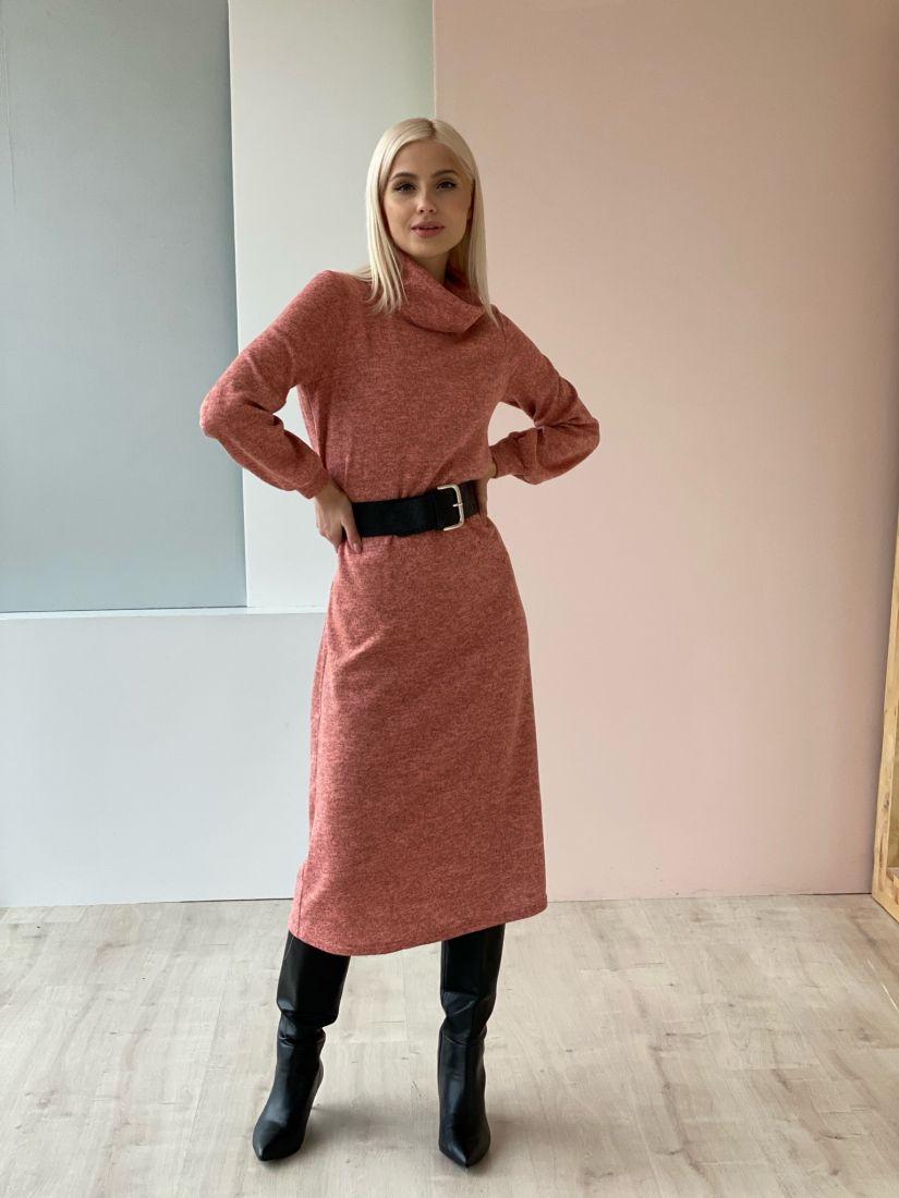 3308 Платье трикотажное с объёмными рукавами в тёплом розовом цвете