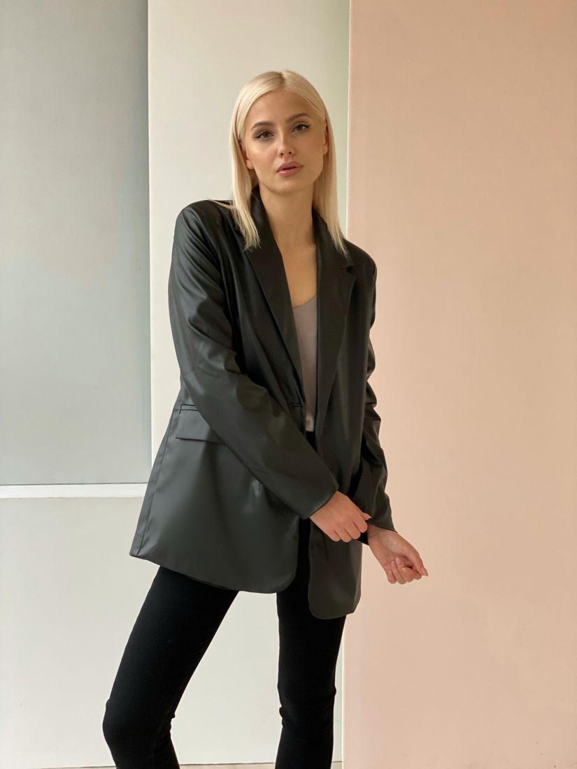 4674 Пиджак кожаный чёрный