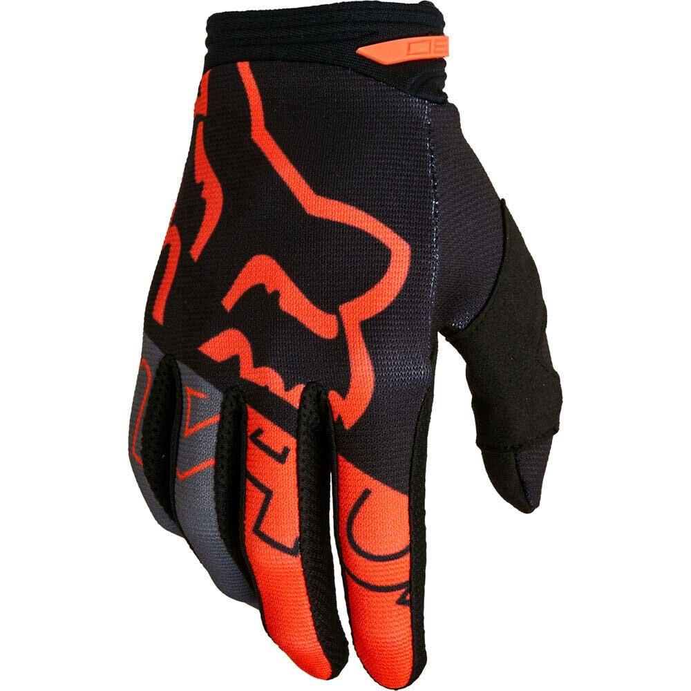 Fox 180 Skew Black/Orange (2022) перчатки для мотокросса