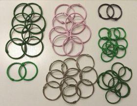 ЛОТ 1 набор разъемных колец 26 комлпектов ( диаметры 50, 45, 40, 35, 30 мм, цвета розовые, зеленый, светло-зеленый, черное серебро, серебро)