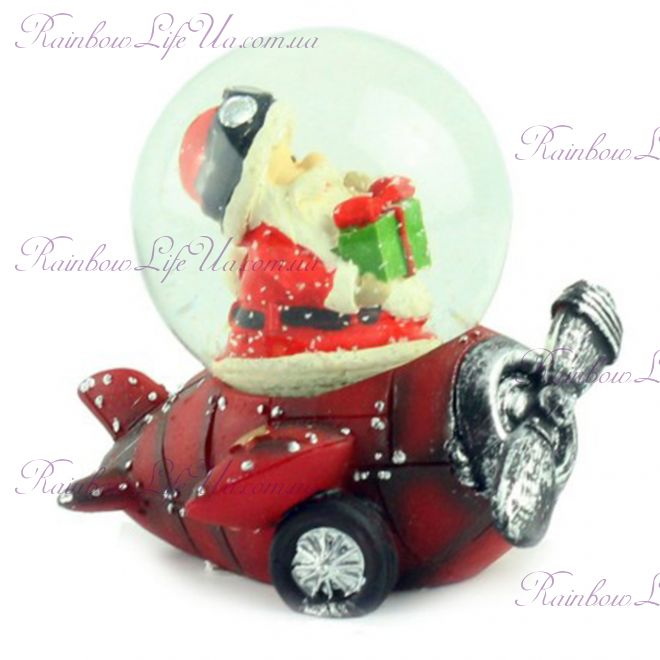 """Снежный шар """"Санта с подарком на красном самолете"""", 7 см"""
