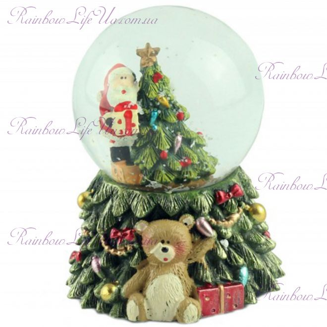 "Снежный шар ""Санта на елке"" с подсветкой"
