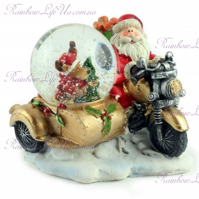 "Снежный шар ""Санта на мотоцикле"" 10 см"