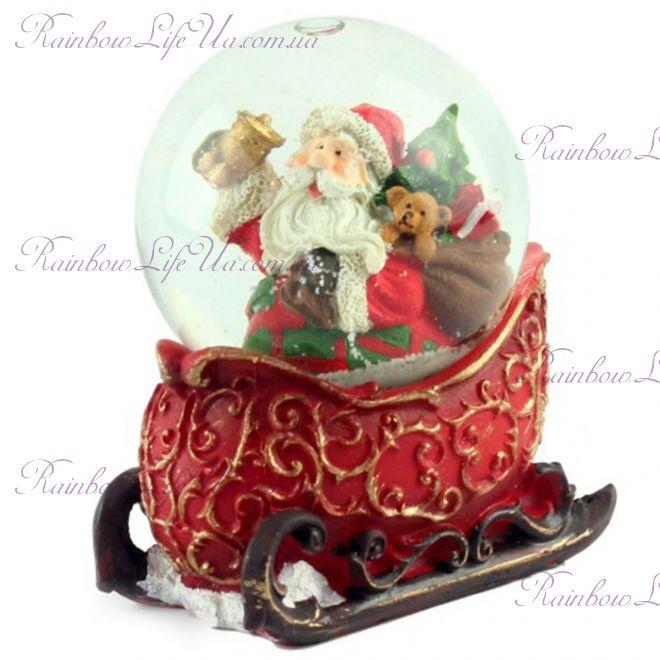 "Снежный шар ""Санта Клаус на санях"", 10 см"