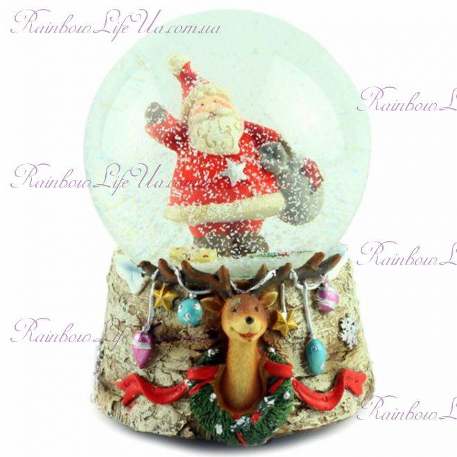 """Снежный шар """"Санта с мешком"""" 14 см"""