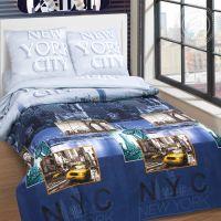 «Нью-Йорк» (DE LUXE) постельное белье Поплин Евро