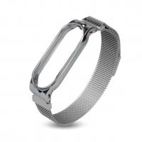 Металлический ремешок с магнитной застежкой на Xiaomi Mi Band 3/4/5/6 ( Серебро )